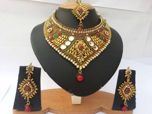 Indian Bollywood Style Ethnic Wedding Necklace with  Emerald Gold Plated Bridal Jewelry Set