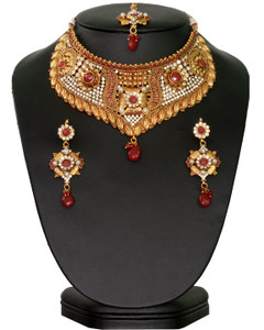 Indian Bollywood Style handcrafted Fashion Necklace Ruby Gold Plated Bridal Jewelry Set