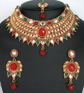 Indian designer bollywood ethnic wedding Bridal gold plated 3 pcs jewelry set