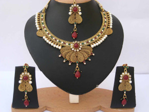 Indian Bollywood Style designer fashion Pearl Gold Plated polki Jewelry Set