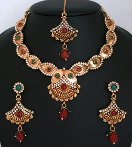 Ethnic Indian Fashion Polki Jewelry Bollywood Gold Plated Necklace Earrings