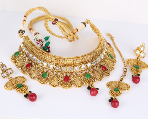 Handmade fashion Designer Indian Wedding bridal necklace jewelry set with Emerald,Ruby,clear stones