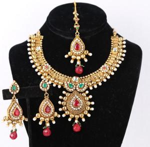 Bollywood Designer Indian Wedding Bridal Party Wear Emerald,Ruby Fashion Jewelry Necklace Set