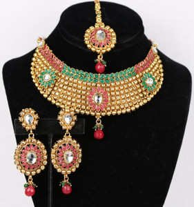 Indian Ethnic Style Bollywood Gold Plated Wedding Ruby Pink and Green Fashion Jewelry Necklace Set