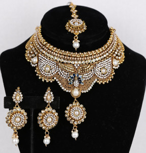 Indian Bridal CZ AD Necklace Gold Silver Tone Bollywood Style Jewelry Set