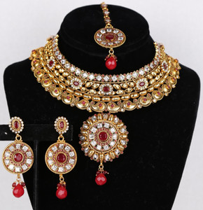 Indian Bridal CZ AD Necklace Gold Silver Tone Bollywood Style Ruby Jewelry Set