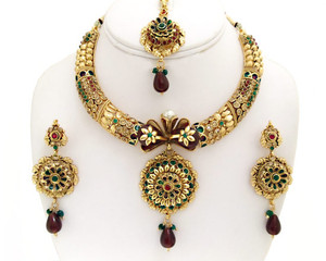 Gold plated Deep Red,Green And Topaz Polki Jewelry Set