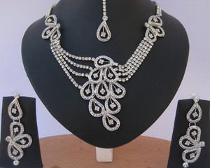 Indian fashion costume jewelry Silver plated Necklace set with Clear CZ stones studded-CZ12