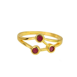 18K Gold plated with Fuchsia Accents Ring