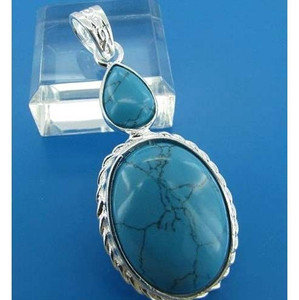 Sterling Silver Oval and Pear Cut Turquoise Cabochon  Gemstone Pendant
