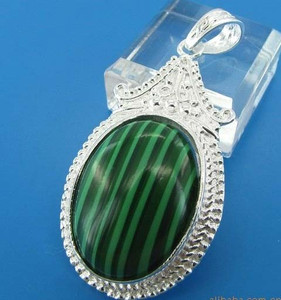Sterling Silver Oval Green Turquoise cabochon Pendant