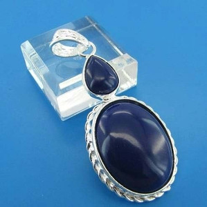 Sterling Silver Oval and Pear Cut Sapphire Blue Cabochon Gemstone Pendant