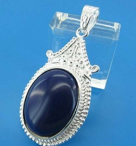 silver Oval Sapphire Blue cabochon Pendant fashion jewelry