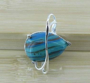 Silver wrapped Blue GemTurquoise pendant jewellery
