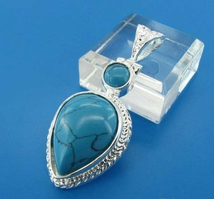 GEM009-Large Blue Turquoise Teardrop Pendant in Sterling silver