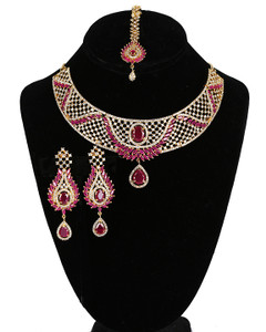 Bridal Jewelry Set, Necklace & Chandelier Earrings,Gold Plated with Ruby and Clear CZ, American Simulated Diamonds