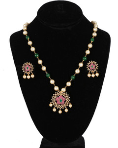 Traditional Party wear Fashion Emerald Green Beaded Round Pearl Pendant Earrings Set