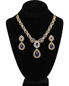 American Diamond Sapphire Blue CZ Zircon Fashion Jewelry Set Necklace Earrings for Women
