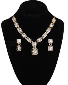 Sparkling American Diamond Clear CZ Gemstone Fashion Jewelry Set Necklace Earrings for Women