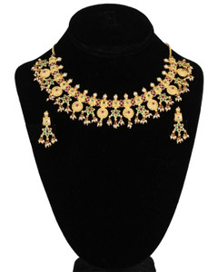 Polki kundan gold plated bridal Necklace earrings Set sparkling jewelry with Ruby Red,Emerald and Pearls