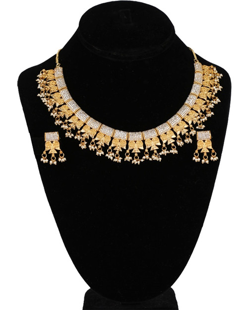 Polki kundan gold plated bridal Necklace earrings Set sparkling jewelry with Clear CZ and Pearls