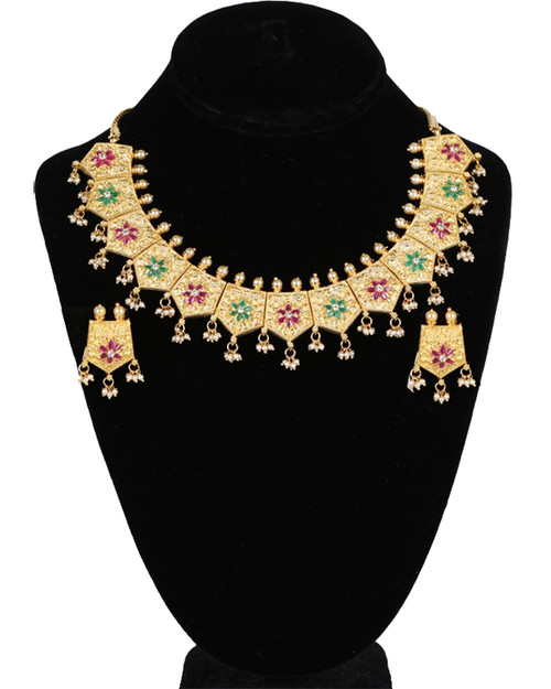 Stunning Eye Catching Gold Plated Polki Kundan Party Wear Necklace Set with Ruby,Emerald gemstones and PearlsÊ