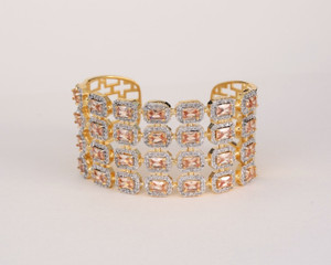 Gold Tone with Topaz Rhinestones Bangle Cuff Bracelet