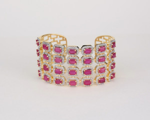 Gold Tone with Ruby Rhinestones Bangle Cuff Bracelet open side made INDIA