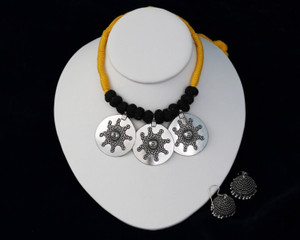 Yellow Threaded German silver Necklace with Jhumka Earrings
