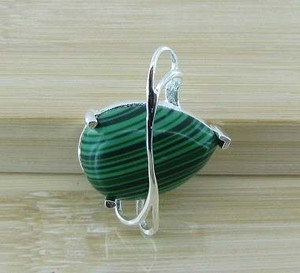 GEM029-Silver wrapped Pear cut  Green Turquoise pendant