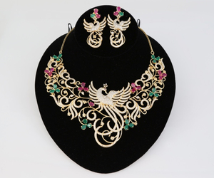 Peacock Designed Indian Bollywood AD Wedding CZ with Ruby, Emerald stones Bridal Fashion Jewelry Necklace Set