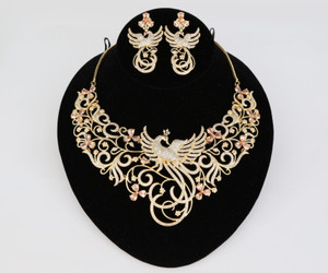 Peacock Designed Indian Bollywood AD Wedding CZ with Topaz stones Bridal Fashion Jewelry Necklace Set