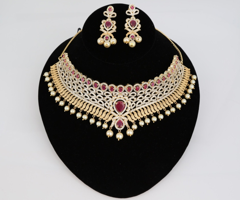 Indian Fashion Jewelry Bollywood Bridal Gold Plated Cz: Gold Plated Indian Bollywood AD Pearl Wedding CZ With Ruby
