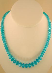 single strand blue glass bead necklace costume jewelry