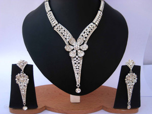 Indian Fashion Jewelry with clear cz stones-CZ117