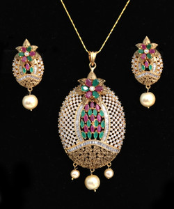 Oval Shaped American Diamond Pendant with Ruby,Emerald White CZ Stone and Faux pearl for Women