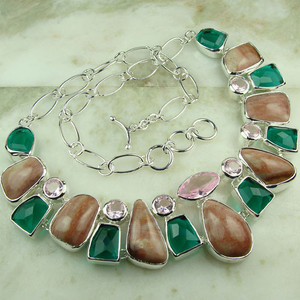 925 silver fashion Rose quartz ,green  multi quartz gemstone jewelry