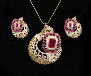 Women's Unique Handcrafted Golden Look Indian Designed Pendant Set with Ruby Stones jewelry