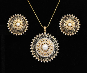 Round Shaped American Diamond Pendant with White CZ Stone for Women
