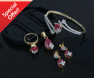Classic Style AD Gold & Dark Pink Bangle Bracelet pendant and earring set