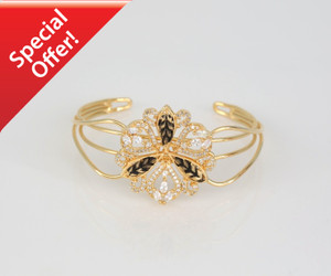 Open cuff Gold Plated bangle with Clear stone Flower design.