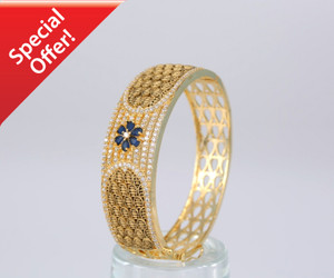 Gold Plated AD Bangle with Beautiful Sapphire stone Flower design