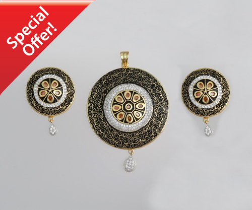 Multicolor Topaz and Diamond Round pendant