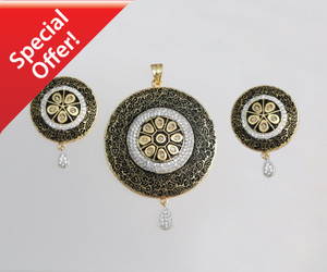 StoneStudded Round Pendant and Earrings Jewelry Sets