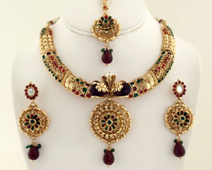 Gold plated Deep Red,Green And Topaz Polki Jewelry Set 1012PLK320