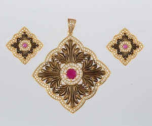 Antique Style Square Charm Pendant studded with clear and Magenta stones.