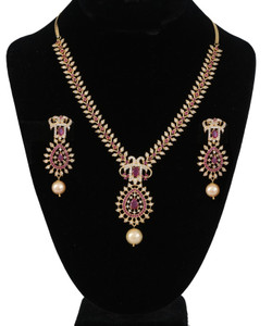 American Diamond Jewelry set with ruby stone