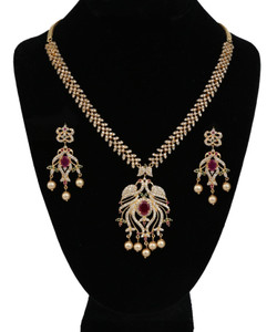Indian Jewelry Designs Peacock Necklace in CZ Stones