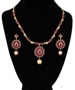 Gold Plated AD statement necklace with Ruby stones.
