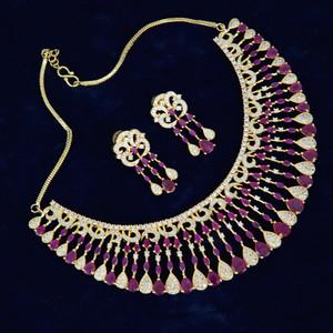 Style AD Wedding Bridal Ruby stones Fashion Jewelry Necklace Set